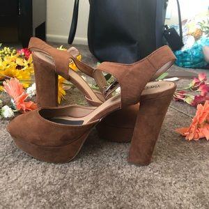 Brown suede platform sandals/heels size 11